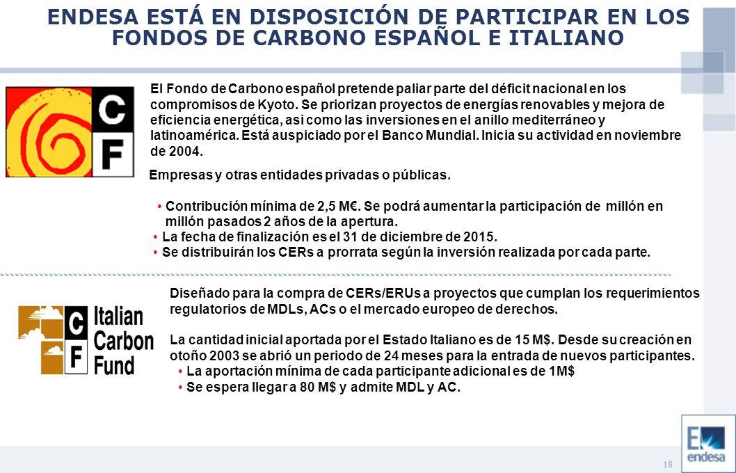 18 ENDESA ESTÁ EN DISPOSICIÓN DE PARTICIPAR EN LOS FONDOS DE CARBONO ESPAÑOL E ITALIANO El Fondo de Carbono español pretende paliar parte del déficit nacional en los compromisos de Kyoto.