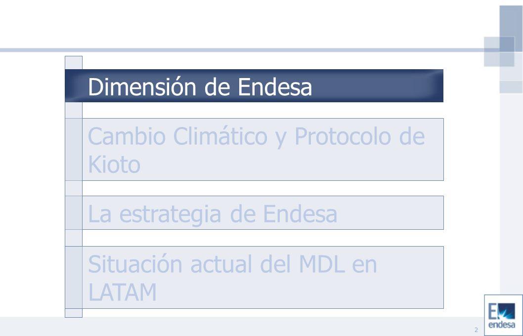 23 Cambio Climático y Protocolo de Kioto La estrategia de Endesa Situación actual del MDL en LATAM Dimensión de Endesa Situación actual del MDL en LATAM
