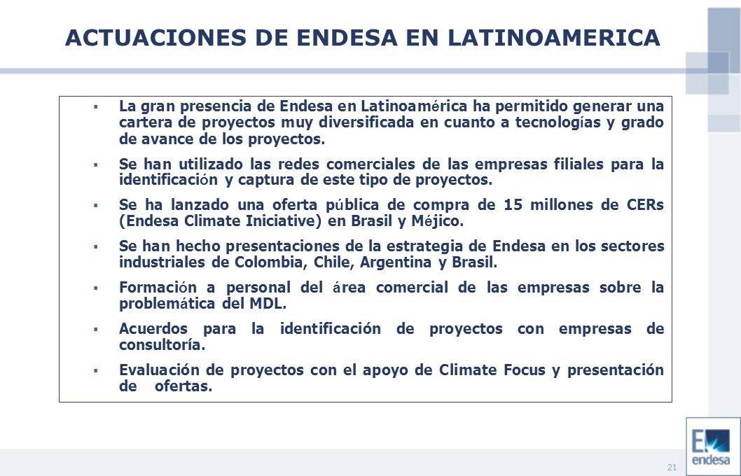 21 La gran presencia de Endesa en Latinoam é rica ha permitido generar una cartera de proyectos muy diversificada en cuanto a tecnolog í as y grado de avance de los proyectos.