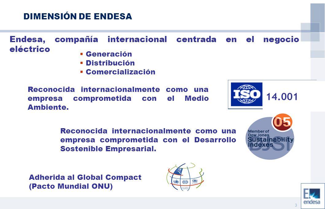 3 DIMENSIÓN DE ENDESA Generación Distribución Comercialización Endesa, compañía internacional centrada en el negocio eléctrico Adherida al Global Compact (Pacto Mundial ONU) Reconocida internacionalmente como una empresa comprometida con el Desarrollo Sostenible Empresarial.