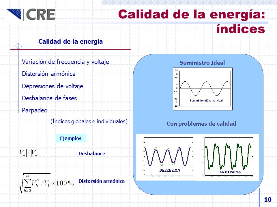 Calidad de la energía: índices Calidad de la energía Variación de frecuencia y voltaje Distorsión armónica Depresiones de voltaje Desbalance de fases