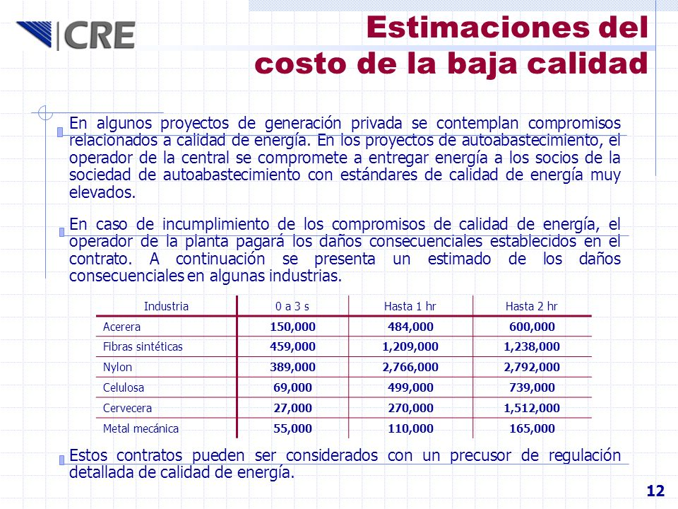 Estimaciones del costo de la baja calidad 12 En algunos proyectos de generación privada se contemplan compromisos relacionados a calidad de energía. E