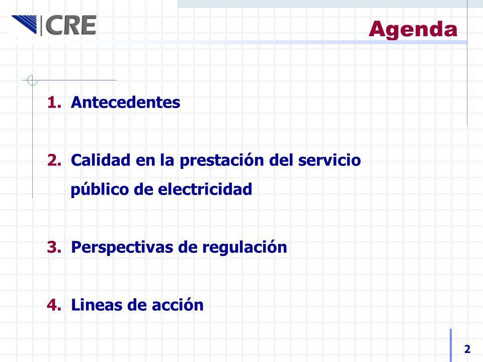 Agenda 1.Antecedentes 2.Calidad en la prestación del servicio público de electricidad 3.Perspectivas de regulación 4.Lineas de acción 2