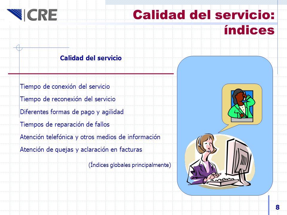Calidad del servicio: índices Calidad del servicio Tiempo de conexión del servicio Tiempo de reconexión del servicio Diferentes formas de pago y agili