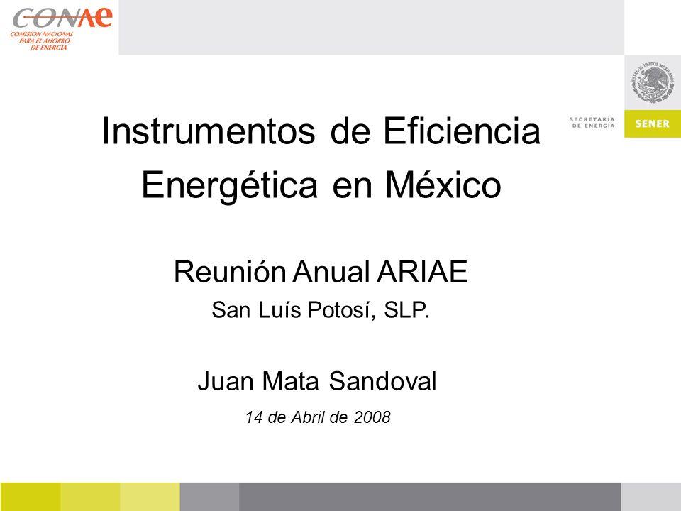Juan Mata Sandoval 14 de Abril de 2008 Instrumentos de Eficiencia Energética en México Reunión Anual ARIAE San Luís Potosí, SLP.