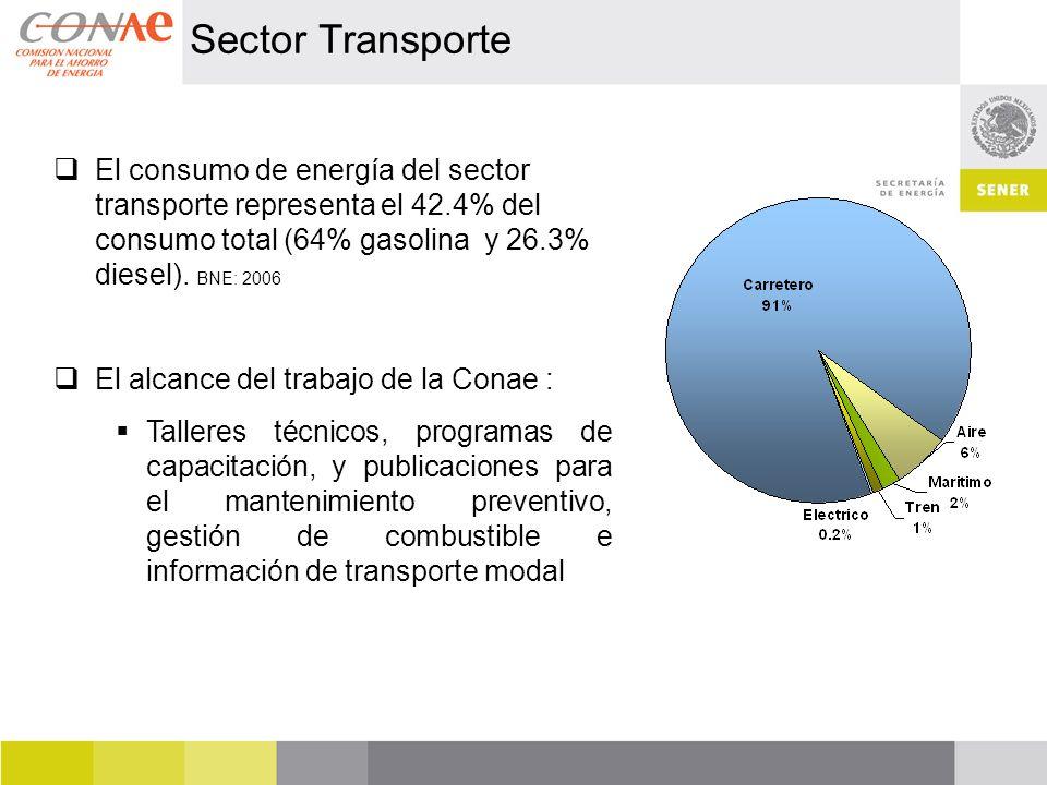 Sector Transporte El consumo de energía del sector transporte representa el 42.4% del consumo total (64% gasolina y 26.3% diesel). BNE: 2006 El alcanc