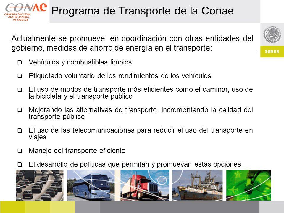Programa de Transporte de la Conae Actualmente se promueve, en coordinación con otras entidades del gobierno, medidas de ahorro de energía en el trans