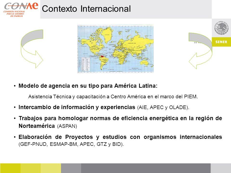 Contexto Internacional Modelo de agencia en su tipo para América Latina: Asistencia Técnica y capacitación a Centro América en el marco del PIEM. Inte