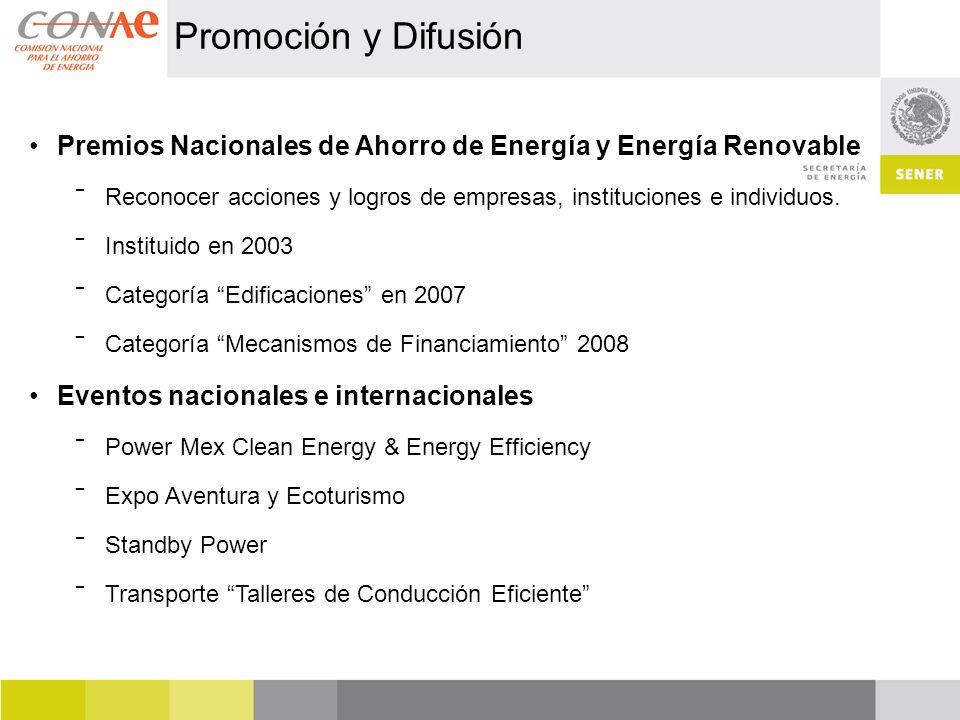 Premios Nacionales de Ahorro de Energía y Energía Renovable Reconocer acciones y logros de empresas, instituciones e individuos.