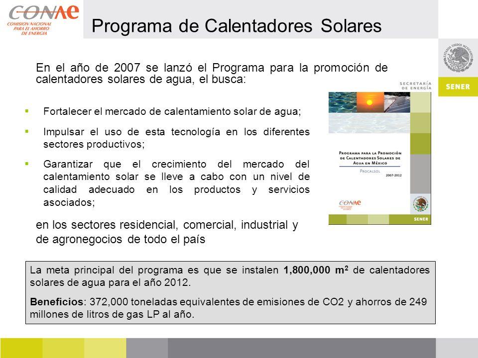 En el año de 2007 se lanzó el Programa para la promoción de calentadores solares de agua, el busca: Fortalecer el mercado de calentamiento solar de agua; Impulsar el uso de esta tecnología en los diferentes sectores productivos; Garantizar que el crecimiento del mercado del calentamiento solar se lleve a cabo con un nivel de calidad adecuado en los productos y servicios asociados; La meta principal del programa es que se instalen 1,800,000 m 2 de calentadores solares de agua para el año 2012.