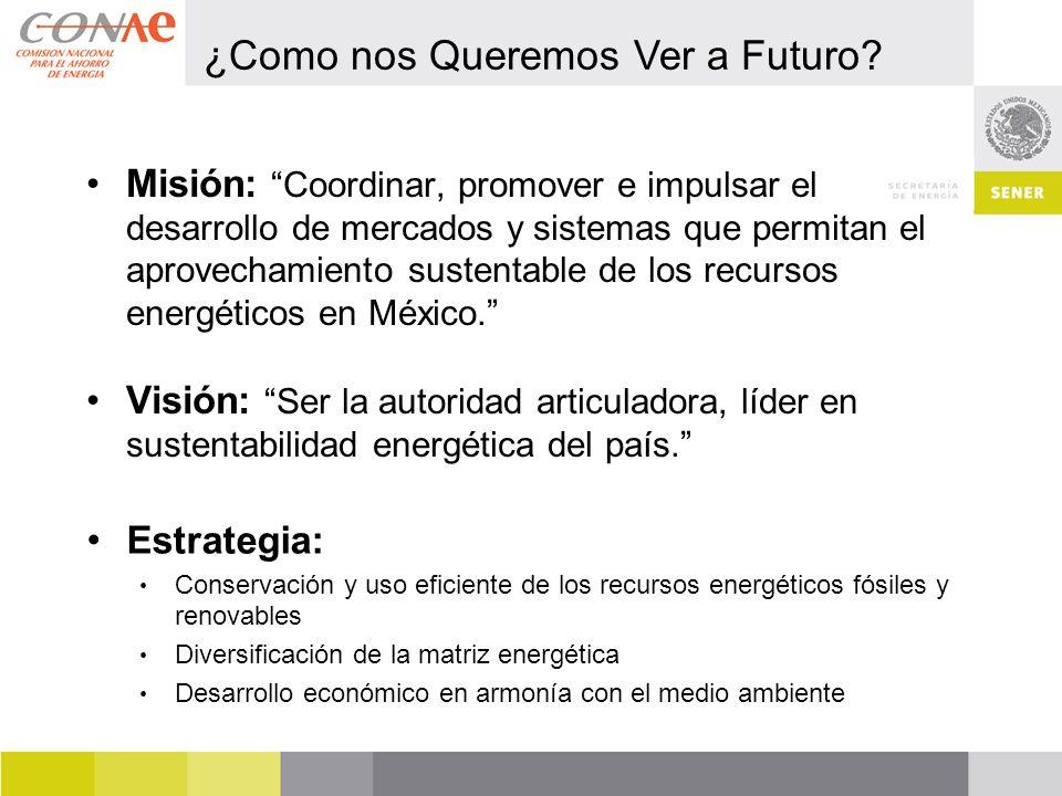 Misión: Coordinar, promover e impulsar el desarrollo de mercados y sistemas que permitan el aprovechamiento sustentable de los recursos energéticos en México.
