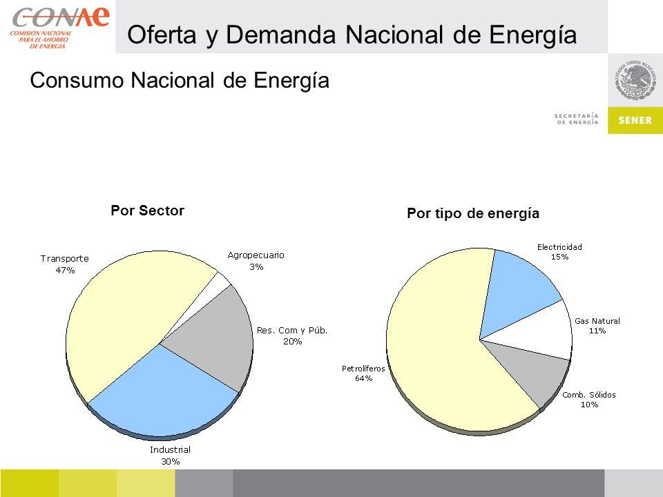Por tipo de energía Por Sector Consumo Nacional de Energía Oferta y Demanda Nacional de Energía