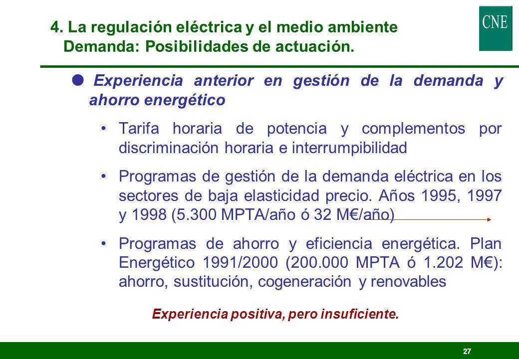 26 Gestión de la demanda eléctrica Desplazamiento de la curva de carga (modulación del consumo hacia momentos de menor precio) Suministro de servicios