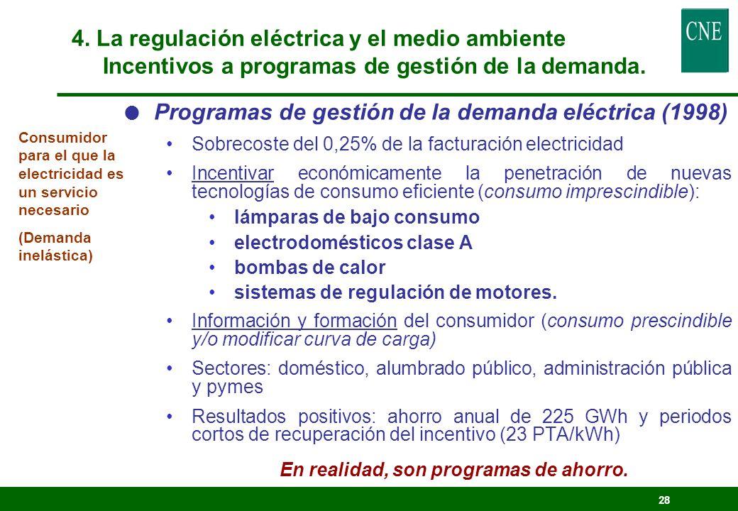 27 Experiencia anterior en gestión de la demanda y ahorro energético Tarifa horaria de potencia y complementos por discriminación horaria e interrumpi
