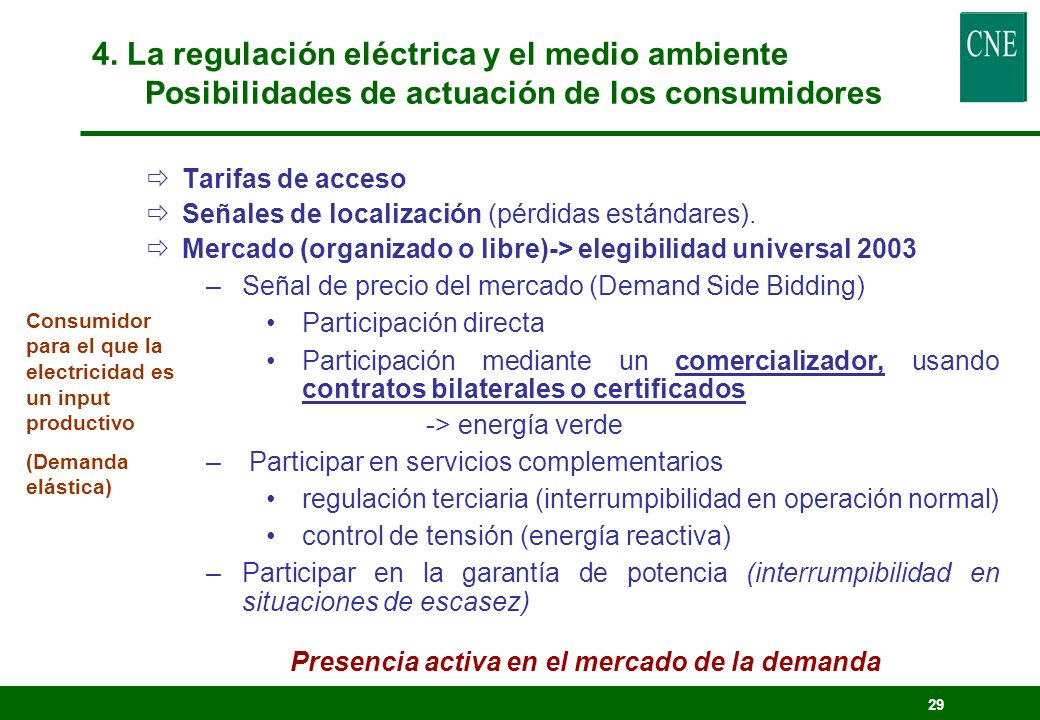 28 Programas de gestión de la demanda eléctrica (1998) Sobrecoste del 0,25% de la facturación electricidad Incentivar económicamente la penetración de