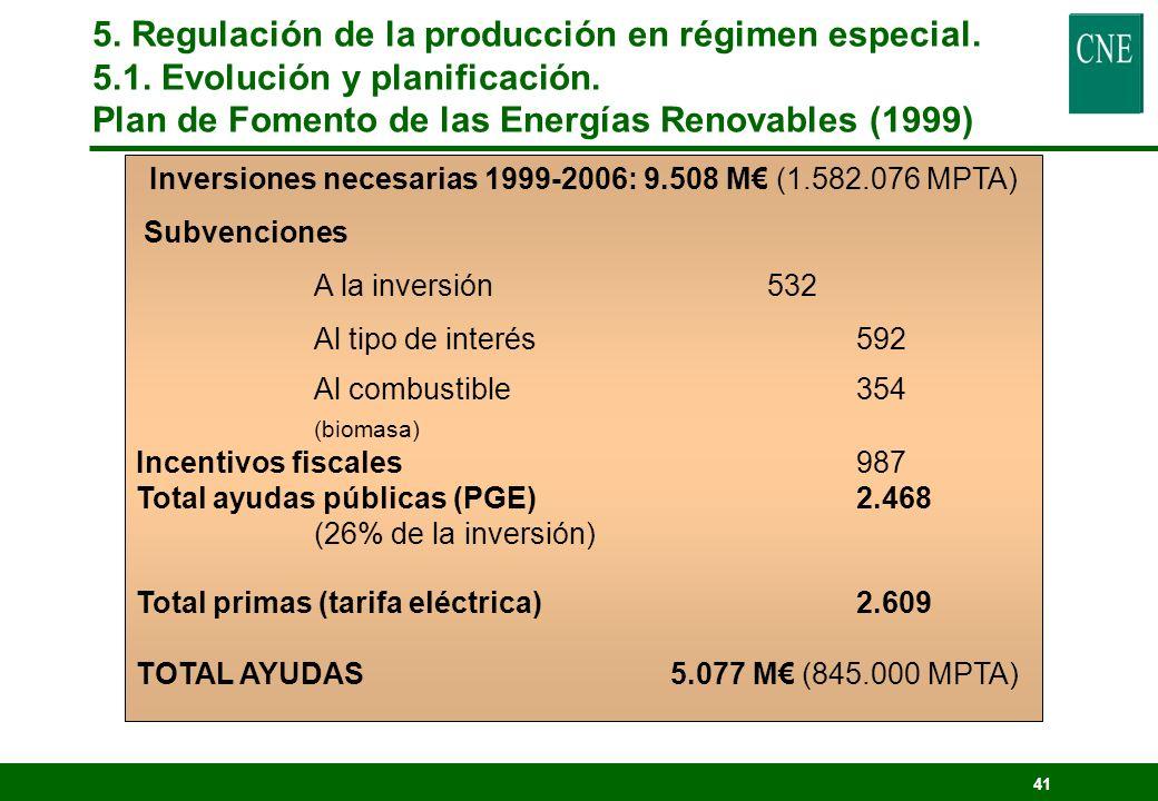40 Previsión 2010: - Crecimiento para la biomasa y biogas, en su uso eléctrico (58 MW en 1998, 1.844 MW en 2010) - Se multiplica por 10 la eólica (837