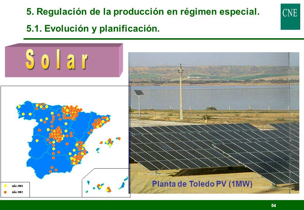 53 5. Regulación de la producción en régimen especial. 5.1. Evolución y planificación.