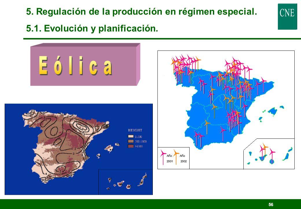 55 5. Regulación de la producción en régimen especial. 5.1. Evolución y planificación.