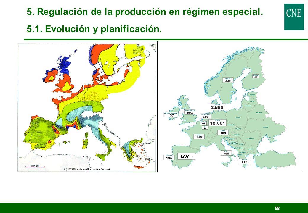 57 5. Regulación de la producción en régimen especial. 5.1. Evolución y planificación.