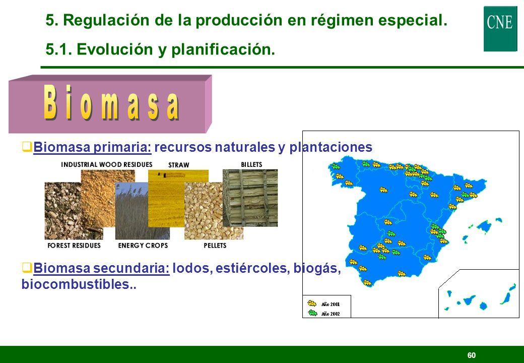 59 5. Regulación de la producción en régimen especial. 5.1. Evolución y planificación.