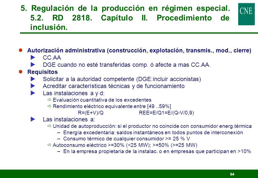63 5. Regulación de la producción en régimen especial. 5.2 RD 2818. Capítulo I. Ámbito de aplicación.