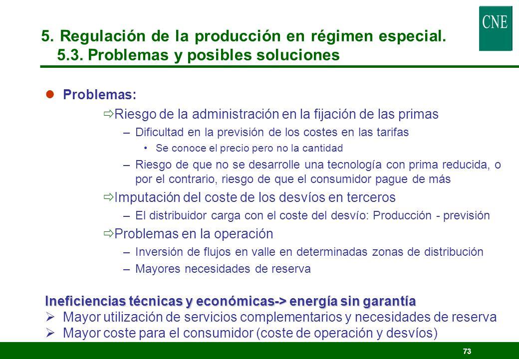 72 Remuneración Prima (18 – 24 /MWh) + Precio mercado (36 – 45 /MWh) 2003: Prima <> 1.000 M/año Porcentaje en tarifas que paga el consumidor: Equivale