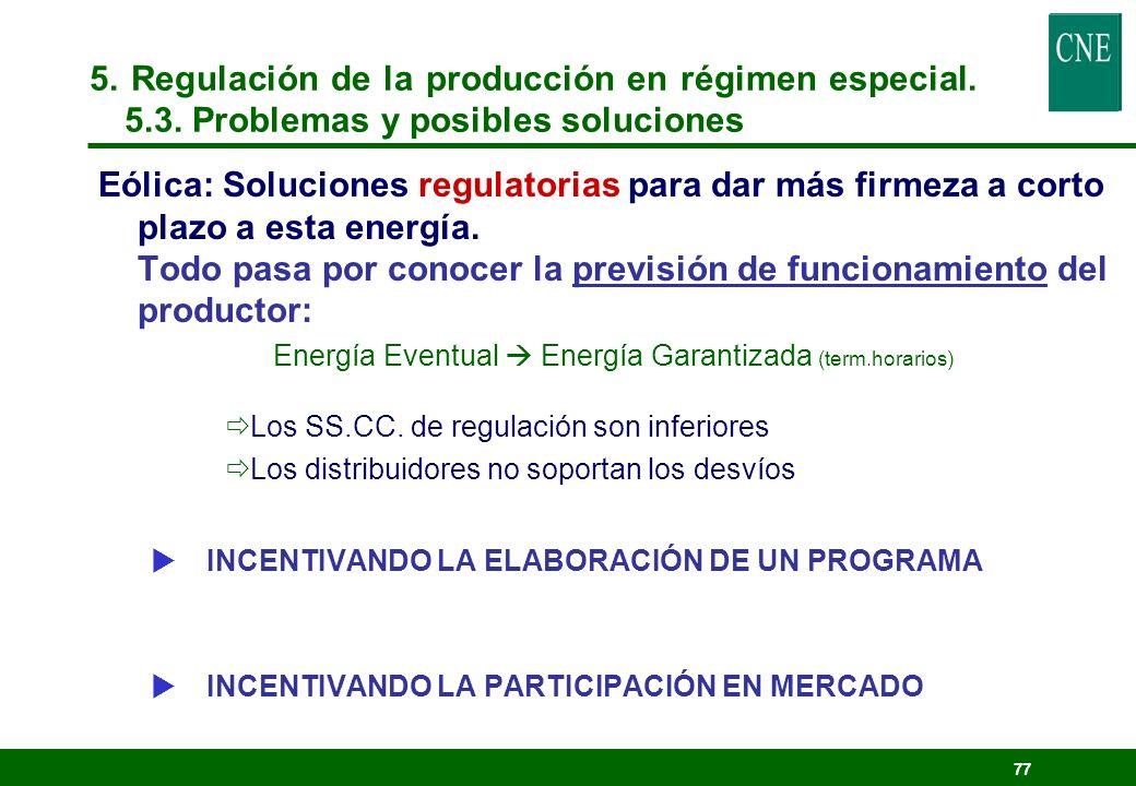 76 5. Regulación de la producción en régimen especial. 5.3. Problemas y posibles soluciones
