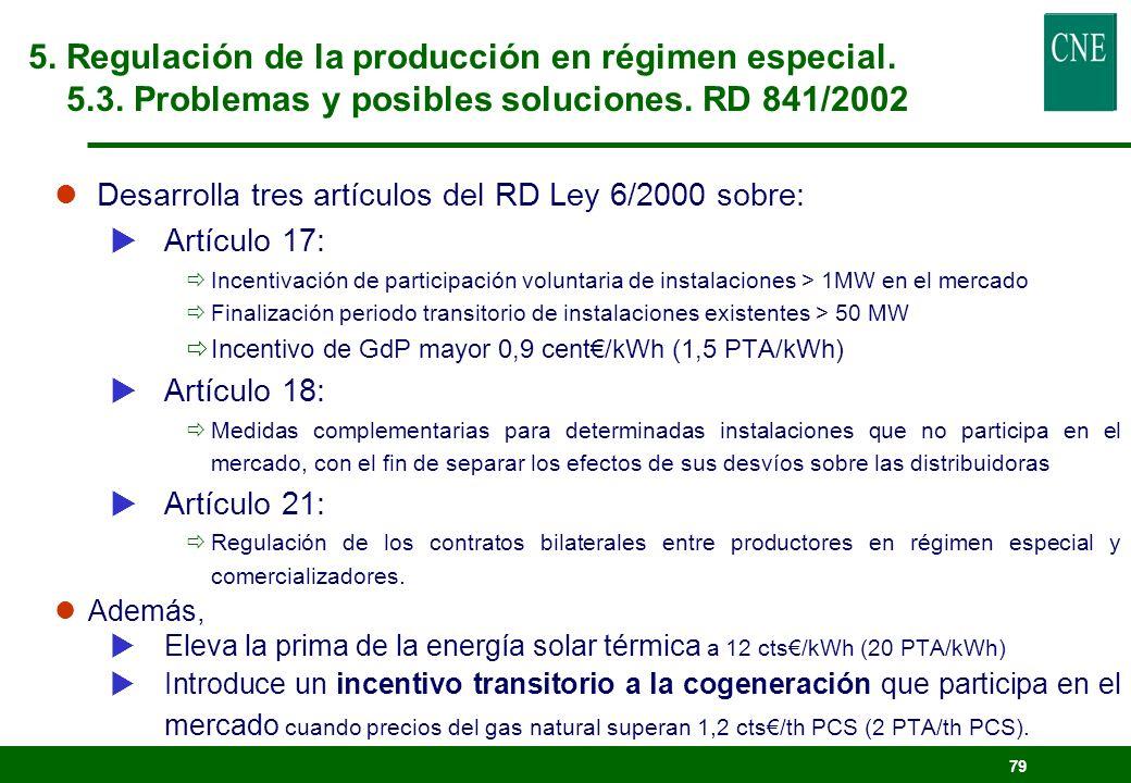 78 OBJETIVO: Avanzar en la introducción de la competencia. Introduce incentivos económicos adicionales para que el RE participe en el mercado y obliga