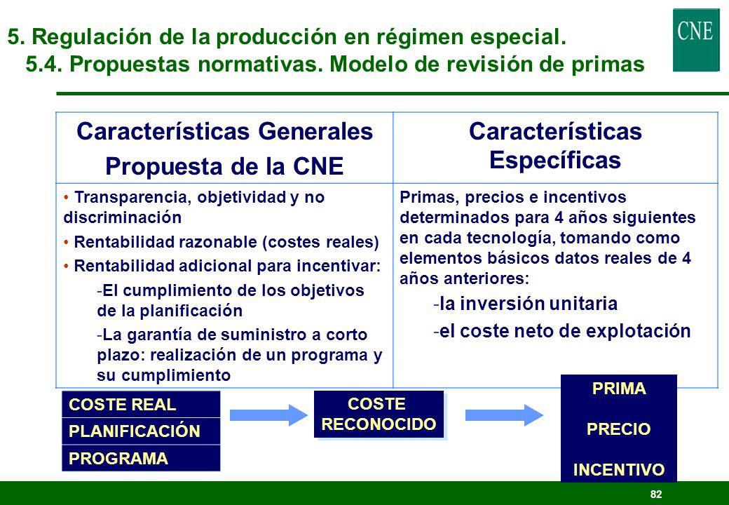 81 5. Regulación de la producción en régimen especial. 5.4. Propuestas normativas. Modelo de revisión de primas