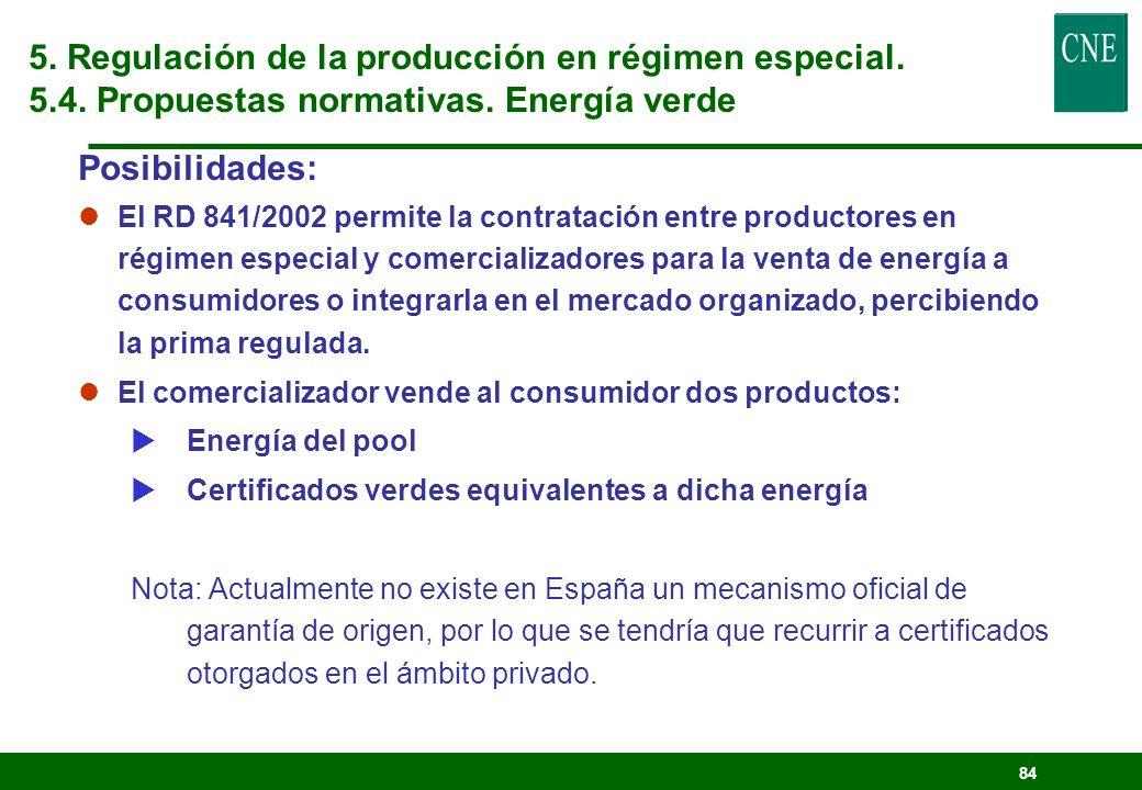 83 lSistema de garantía de origen de la Directiva Organismo oficial que: Registre el origen de la energía renovable Emita certificados que garanticen