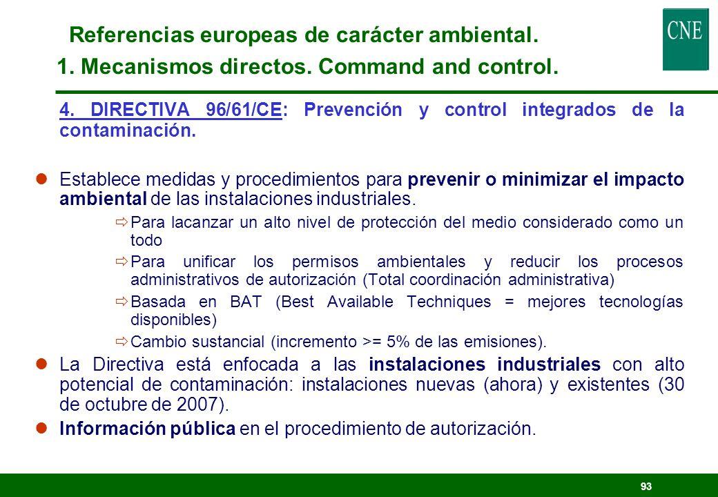 92 3. DIRECTIVA 2001/81/CE: Techos nacionales de emisión para ciertos contaminantes atmosféricos. lLimitar las emisiones de SO 2, NOx, VOC y NH 3, par