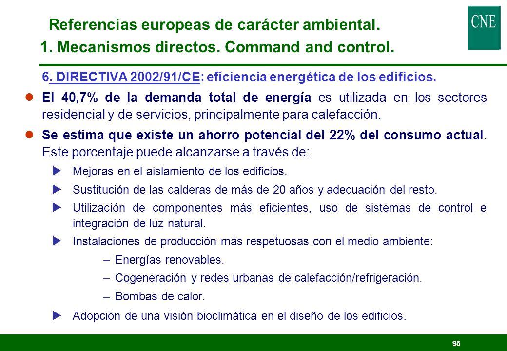 94 5. DIRECTIVA: fomento del uso de biocombustibles para transporte. lObjetivo: establecer un porcentaje mínimo de biocombustibles para sustituir dies