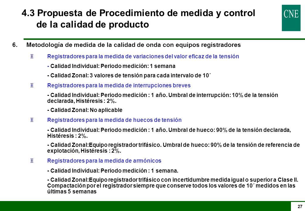 27 4.3 Propuesta de Procedimiento de medida y control de la calidad de producto 6.Metodología de medida de la calidad de onda con equipos registradore