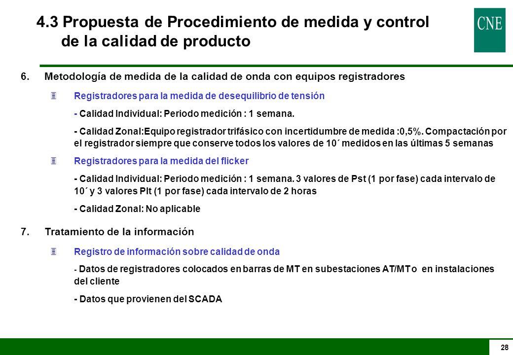 28 4.3 Propuesta de Procedimiento de medida y control de la calidad de producto 6.Metodología de medida de la calidad de onda con equipos registradore