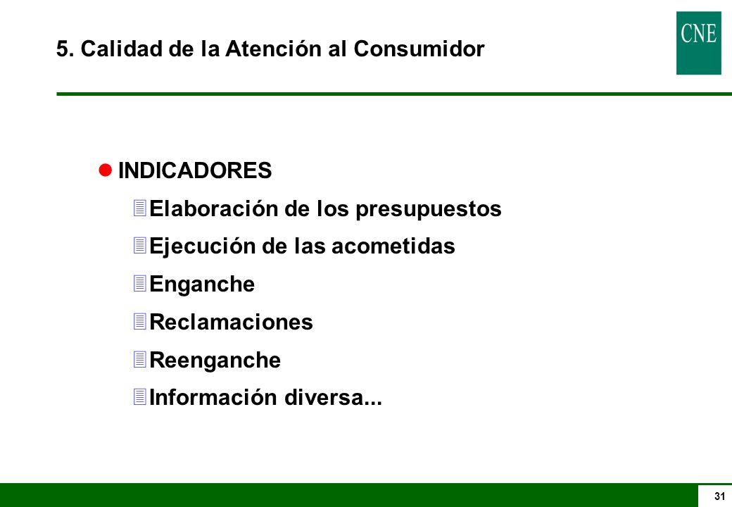 31 5. Calidad de la Atención al Consumidor lINDICADORES 3Elaboración de los presupuestos 3Ejecución de las acometidas 3Enganche 3Reclamaciones 3Reenga