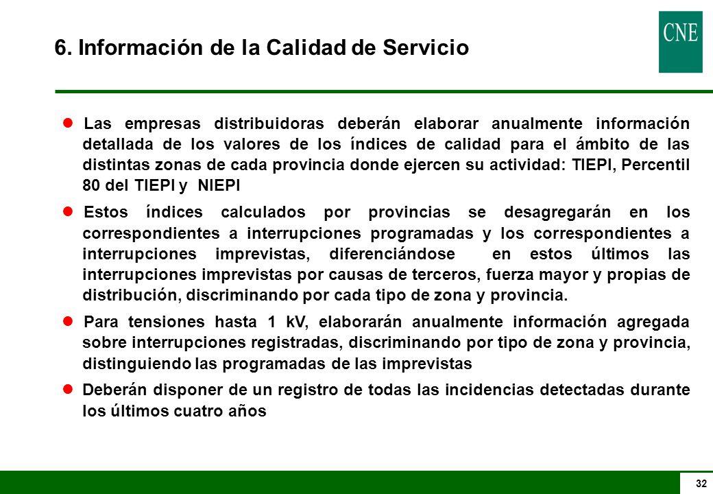 32 6. Información de la Calidad de Servicio lLas empresas distribuidoras deberán elaborar anualmente información detallada de los valores de los índic