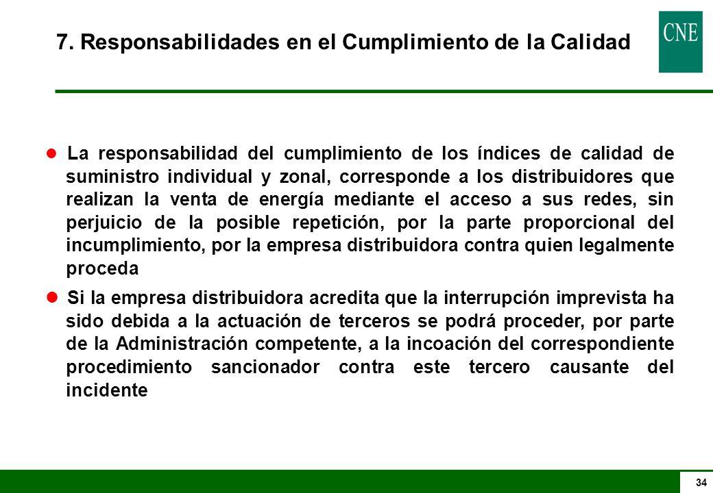 34 7. Responsabilidades en el Cumplimiento de la Calidad l La responsabilidad del cumplimiento de los índices de calidad de suministro individual y zo