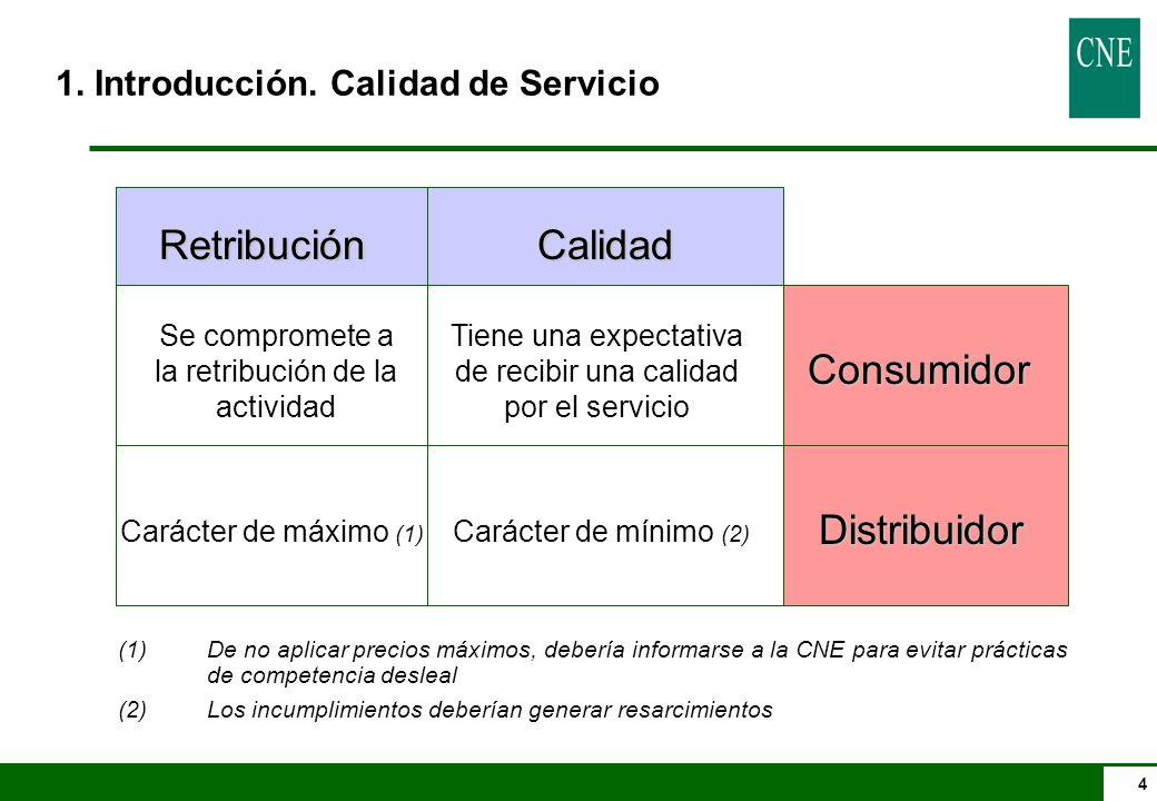 5 RD 1955/2000 que regula la calidad de Servicio: lTendrá carácter de mínimo y será de aplicación a todas las zonas de distribución y a todos los suministros del sistema eléctrico nacional.