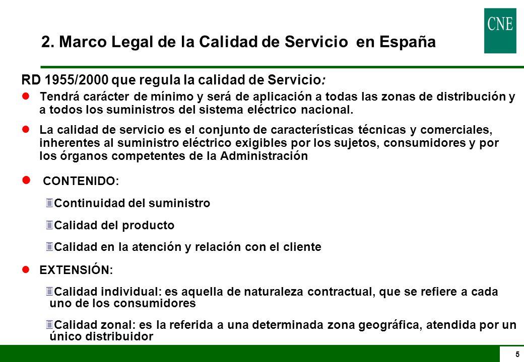 5 RD 1955/2000 que regula la calidad de Servicio: lTendrá carácter de mínimo y será de aplicación a todas las zonas de distribución y a todos los sumi