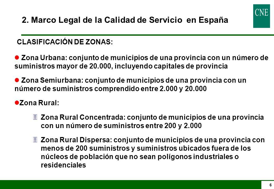 6 CLASIFICACIÓN DE ZONAS: l Zona Urbana: conjunto de municipios de una provincia con un número de suministros mayor de 20.000, incluyendo capitales de