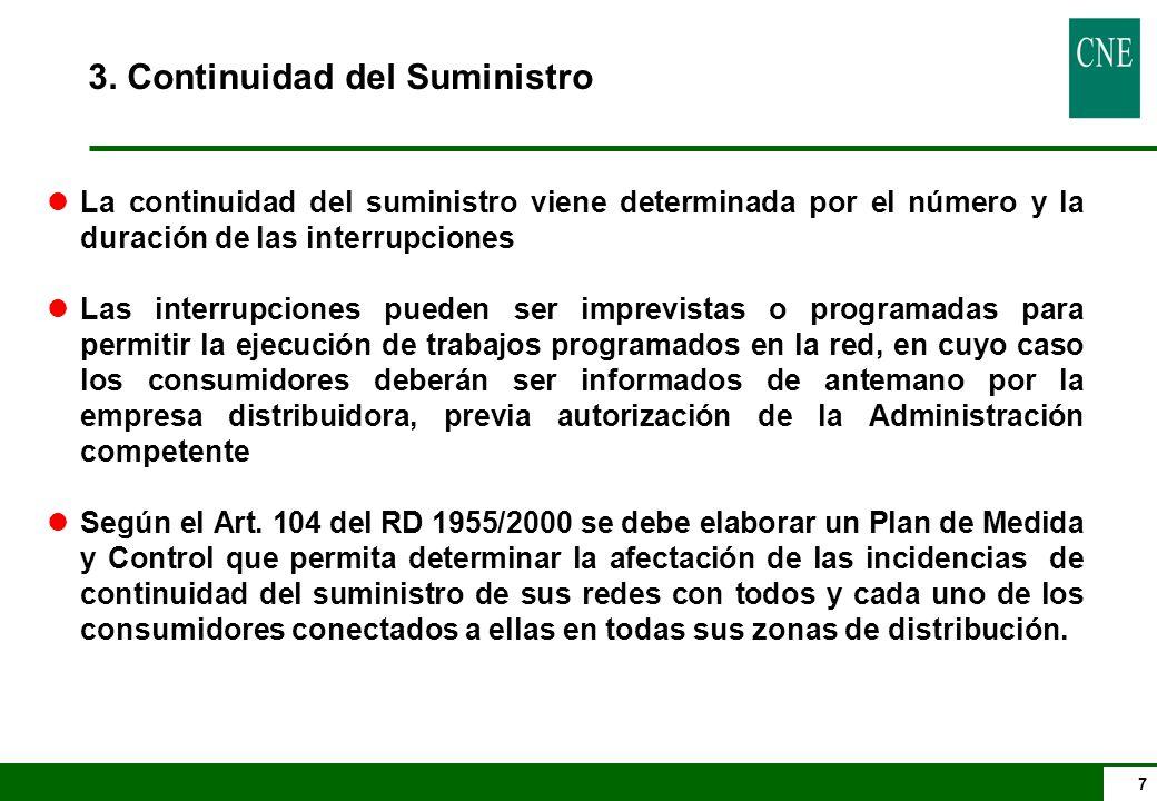 7 3. Continuidad del Suministro lLa continuidad del suministro viene determinada por el número y la duración de las interrupciones lLas interrupciones