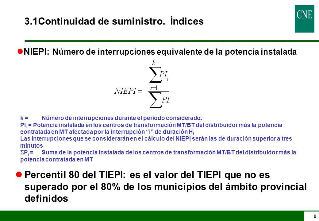 9 k =Número de interrupciones durante el periodo considerado. PI i = Potencia instalada en los centros de transformación MT/BT del distribuidor más la
