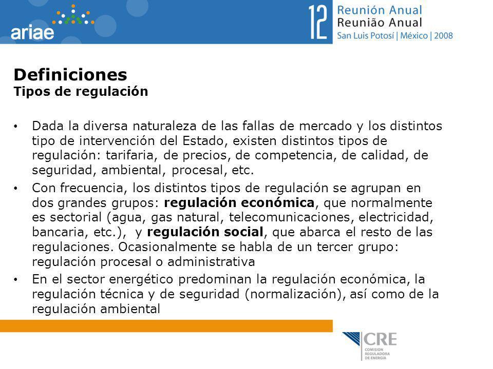 Definiciones Tipos de regulación Dada la diversa naturaleza de las fallas de mercado y los distintos tipo de intervención del Estado, existen distinto