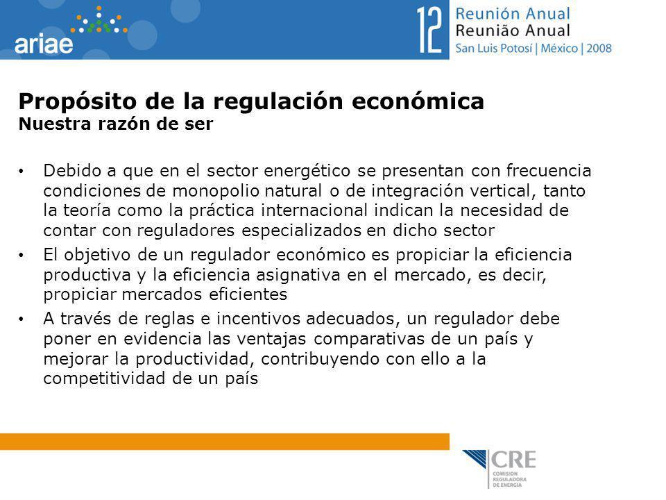 Propósito de la regulación económica Nuestra razón de ser Debido a que en el sector energético se presentan con frecuencia condiciones de monopolio na
