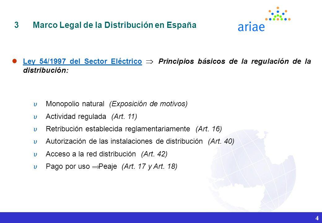 4 3Marco Legal de la Distribución en España Ley 54/1997 del Sector Eléctrico Principios básicos de la regulación de la distribución: Monopolio natural (Exposición de motivos) Actividad regulada (Art.