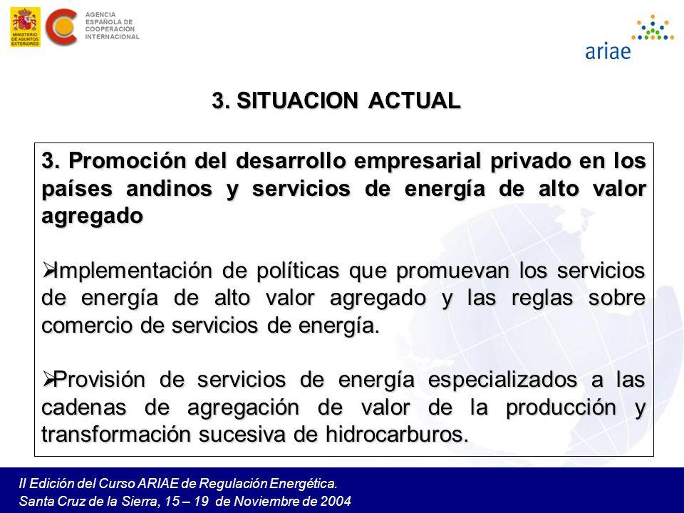 II Edición del Curso ARIAE de Regulación Energética. Santa Cruz de la Sierra, 15 – 19 de Noviembre de 2004 3. Promoción del desarrollo empresarial pri