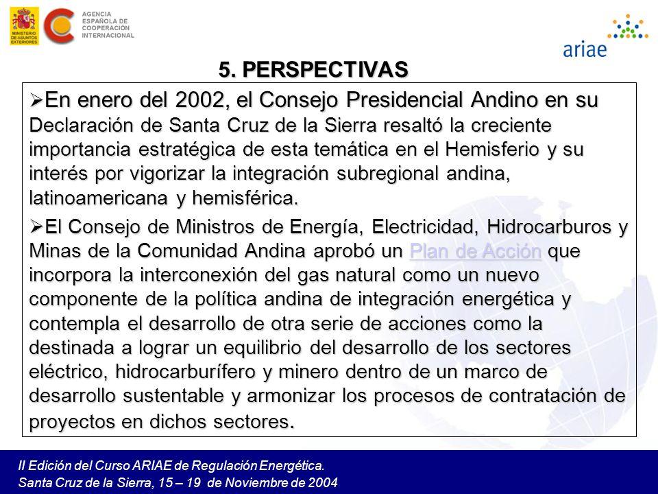 II Edición del Curso ARIAE de Regulación Energética. Santa Cruz de la Sierra, 15 – 19 de Noviembre de 2004 5. PERSPECTIVAS En enero del 2002, el Conse