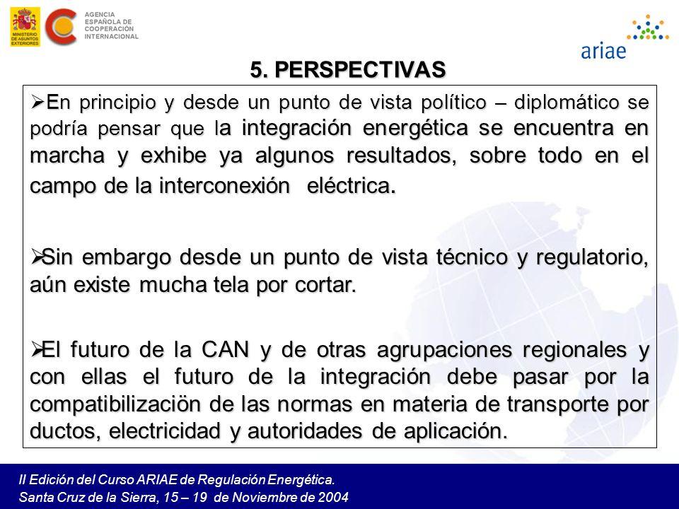 II Edición del Curso ARIAE de Regulación Energética. Santa Cruz de la Sierra, 15 – 19 de Noviembre de 2004 5. PERSPECTIVAS En principio y desde un pun