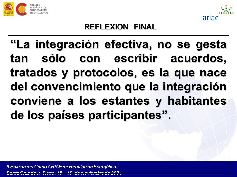 II Edición del Curso ARIAE de Regulación Energética. Santa Cruz de la Sierra, 15 – 19 de Noviembre de 2004 REFLEXION FINAL La integración efectiva, no