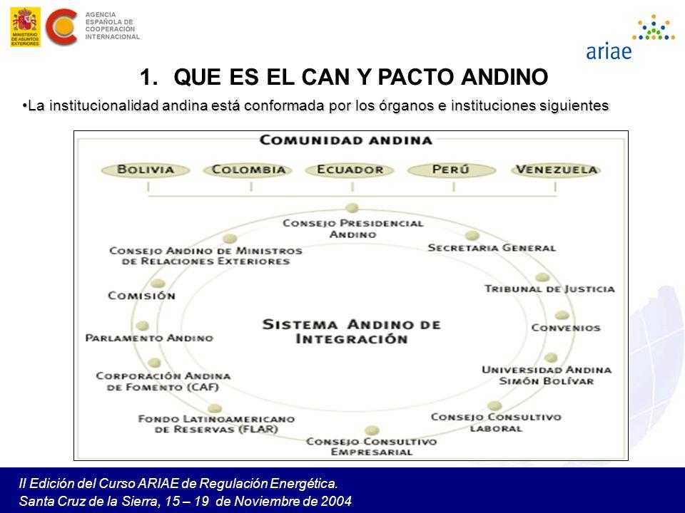II Edición del Curso ARIAE de Regulación Energética. Santa Cruz de la Sierra, 15 – 19 de Noviembre de 2004 1.QUE ES EL CAN Y PACTO ANDINO La instituci